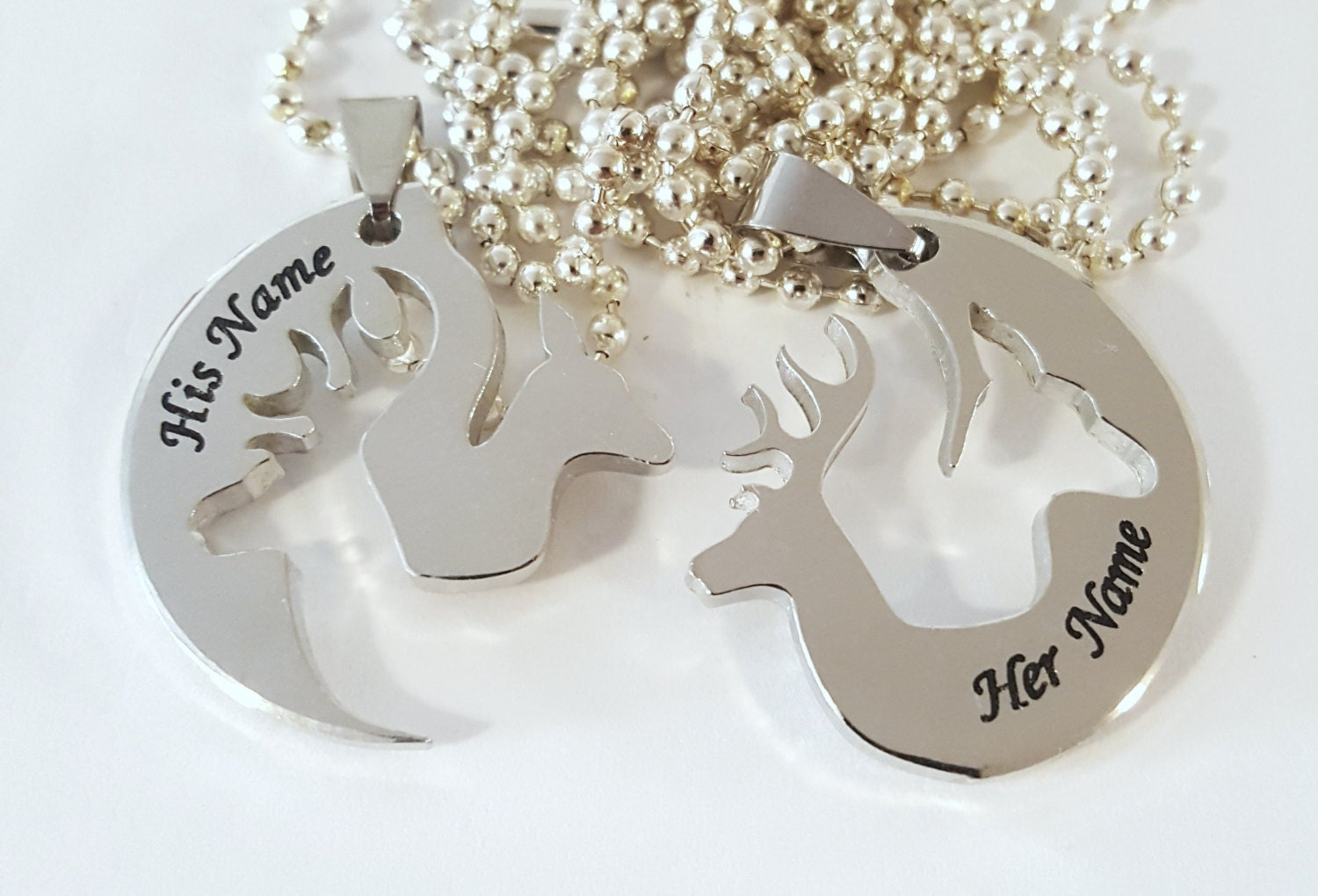 Buck Doe necklace deer head his hers boyfriend girlfriend