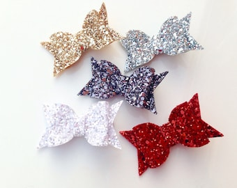 Chunky glitter hair bow clips / alligator clips - 3 sizes - choice of colours