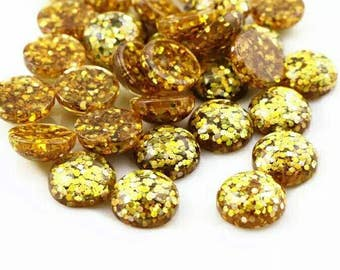 10pcs 12mm Golden Glitter Resin Dome Metallic Cabochons DIY Cabochon Jewelry Supply Jewellery Supplies Mermaid Earrings Cameo Bezel