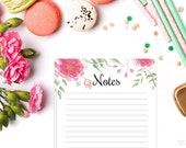 Watercolor Flowers Printable Notes, Half Sheet Printable Notes,  Pink Watercolor Floral Theme Notes, Notes