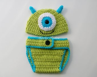Crochet Baby Monsters Inc Mike Sulley Option Hat/Baby Monster Set/crochet monster set/monster beanie/Diaper Cover Set/Photo Prop/Baby Shower