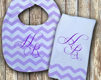 Prissy Monogrammed Baby Bib with matching Burp Cloth Set (Purple)