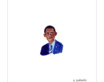 Tiny President Obama Print