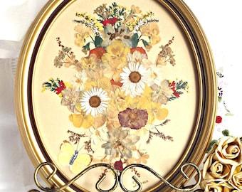 Framed Dried Floral Arrangement, Vintage Dried Flowers, Vintage Decor, Home Decor