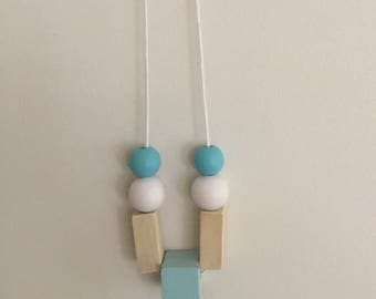 Wooden bead necklace // square geometric and round beads// aqua white and natural beads
