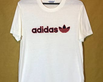80s Vintage ADIDAS Trefoil T-shirt Polyester Cotton Made In Japan Medium Size