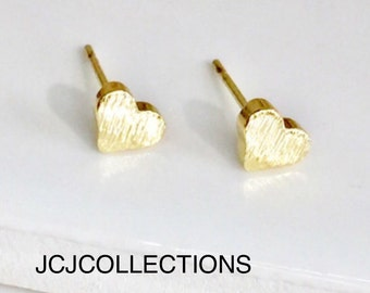 Tiny  Gold Heart Stud Earrings