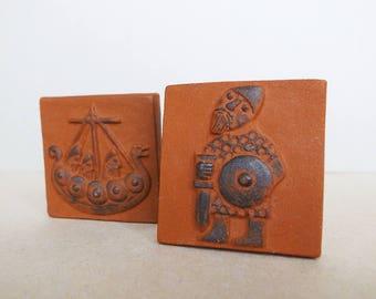 Danish Vintage Thyssen Keramik Denmark / Danmark Life of Vikings Tile / Mid Century Modern Folk Design