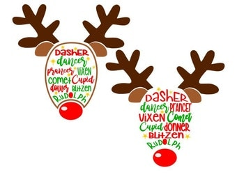 Reindeer Names; SVG, DXF, PS, Ai and Pdf Digital Files for Electronic Cutting Machines