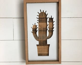 Repurposed wood Cactus silhouette sign