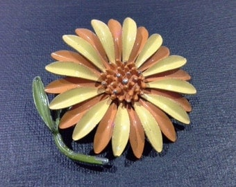 Retro Enamel Yellow & Orange Gerbera Daisy Flower Brooch Scarf Pin