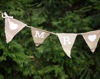 Vintage, Pennant, Mr. & Mrs., jute, wedding