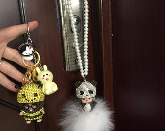 bling bling car accessories the monchhichi doll rear view mirror charm the lemon yellow sparkly bee hats monchichi pendants car keys ring