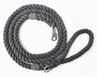 Charcoal Grey Rope Dog Leash