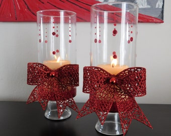 Red Bow hurricane candle holder