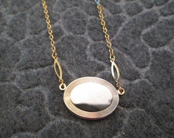 Engravable Gold Oval Disc necklace> Vintage 1970's, New Old Stock, never worn>>nice detailing