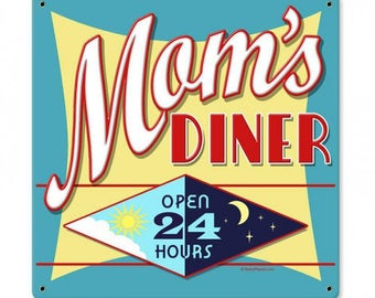 "Metal Sign "" Mom's Diner 24 Hour Kitchen Decor "" 12""x12"" Man Cave"