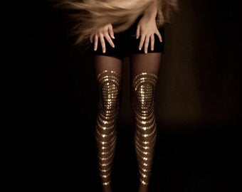 Christmas sale! black & gold tights, Goldfish available in S-M, L-XL gift ideas, gift for girlfriend, for her, holiday gift
