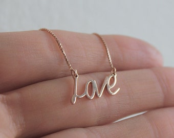 Rose Gold Love Necklace, Rose Gold Name Necklace, 18k Rose Gold LOVE necklace, Box Chain necklace