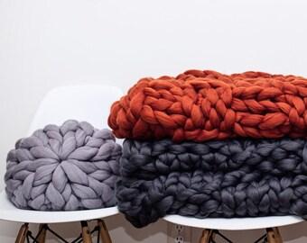 DIY Arm Knitting Kit,25x30, Merino blanket, Chunky Knit DIY knitting kit