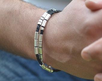Personnalisé le Code Morse Bracelet en cuir, le code morse Mens, mens bracelet, Bracelet de Code Morse, bijoux pour hommes pour lui, mans bracelet