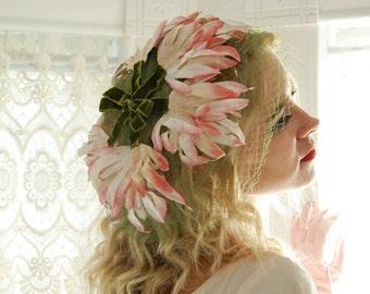 Vintage pink floral hat, 1950s flower garden formal, green netting veil