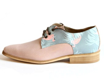 Women's Pink Printed Shoes - Flat Shoes - Leather Shoes - Women's Oxford Shoes - Light Pink Leather Shoes - Hand Made Shoes- Arama
