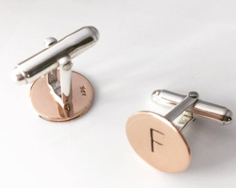 Rose Gold 9ct Monogram Cuff Links sterling silver personalised stamped initial jewellery - Classy handmade made in Australia