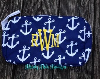 Monogram Accessory Bag | Sunscreen Bag | Clutch Bag | Monogram Makeup Bag | Graduation Gift | Beach Accessory | Navy Travel Bag with Anchors