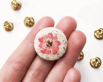 Hand Painted Fabric Flower Pin Button