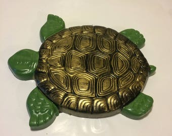 Turtle Stepping Stone, Painted Turtle Stepping Stone, Garden Decor, Yard Decor, Patio Decor, Porch Decor, Housewarming Gift,