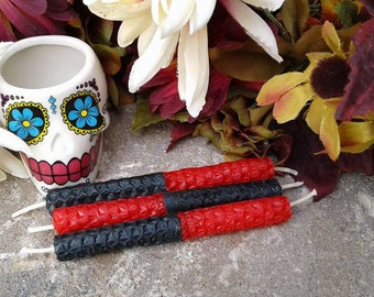 Red and Black Double Action Candles Mini Chime Candles Beeswax