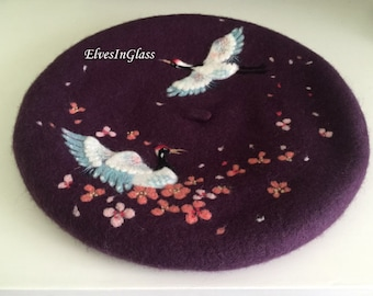 Wool beret with  a flying crane in cherry blossoms,Needle Felted hat pattern,Chinese style element