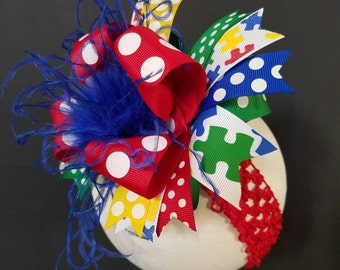 Autism Awareness Red Polka Dot Over The Top Boutique Hairbow Ostrich Feather