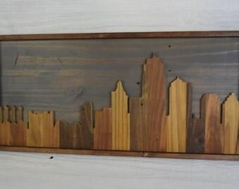 Kansas City Skyline Wall Art – Rustic wall art, Urban art, skyline wood art, KC Art, skyline silhouette, reclaimed art, Kansas décor, KCMO