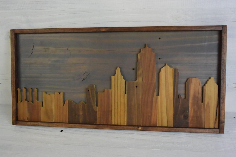 Kansas City Skyline Wall Art – Rustic wall art, Urban art, skyline wood art - Kansas City Skyline Etsy