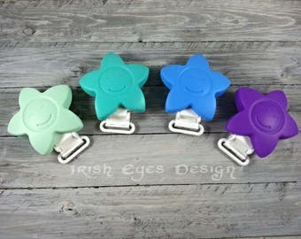 Silicone star pacifier clip * more colors available * paci clip binky clip* food grade silicone * binkie clip * teether clip * bpa free