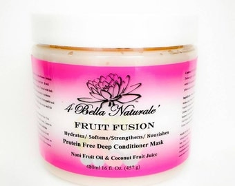 Fruit Fusion Deep Conditioning Hair Mask 16oz jar, Handcrafted, Natural, Organic, Mango Butter, Noni Fruit Oil, Protein Free