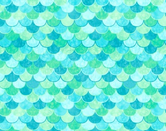 BOARDSHORTS Fabric: Watercolor Mermaid Scales Boardshorts Fabric. Sold by the 1/2 yard