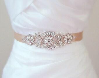 BRIDAL SASH: Elegant rhinestone crystal and pearl satin bridal sash - White/Ivory/Champagne