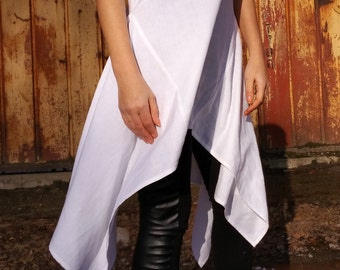 White Asymmetrical Linen Tunic Dress /Oversize White Caftan / Maxi Summer Dress / Linen Top