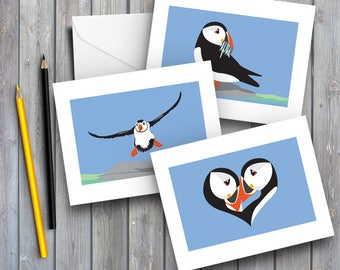 Puffin Card Puffins cards Boxed Set Greeting cards puffin gift tag art card thank you  card  birthday card notecards bird cards digital art