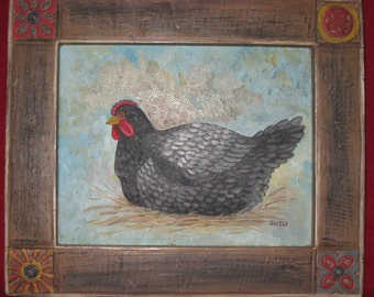 Chicken Hen Rooster Painting in Unique Carved Wooden Frame/Unique Original Canvas Painting/Vintage Chicken Hen Rooster Painting