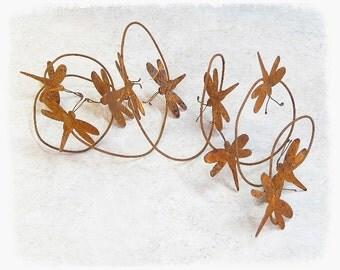 Rusty Tin Dragonfly Garland, Rusty Garland, Dragonflies, Primitive Decor, Craft Supplies