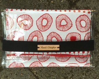 wallet, clutch purse, womens, PVC cover features independen designer screen printed cotton, elastic closure, pockets