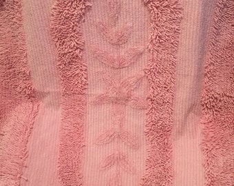 Pair vintage pink chenille throw rugs