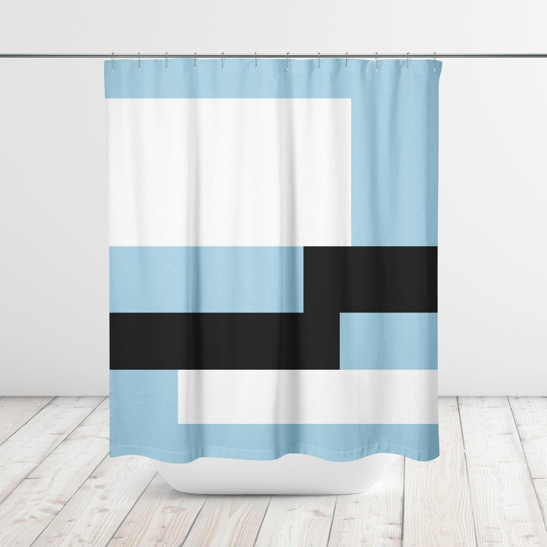 Offset Color Block Modern Shower Curtain, Bath Curtain, Bathtub ...