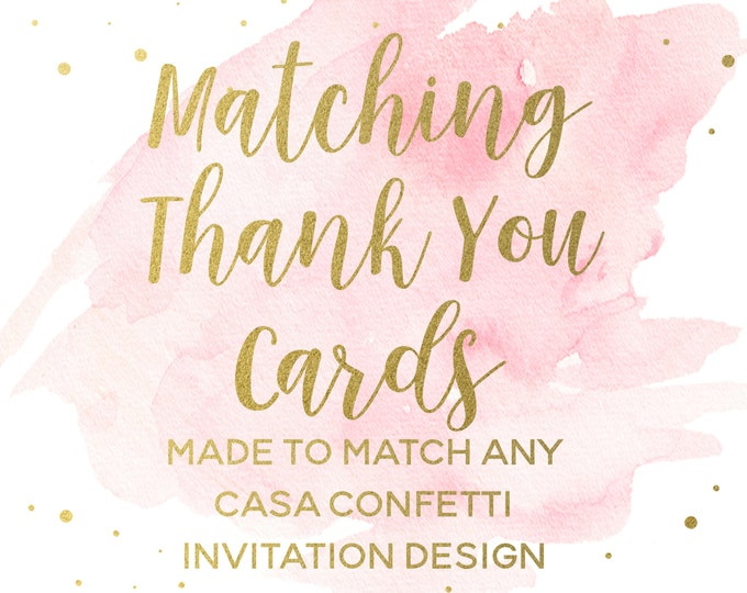 Matching Thank You Cards for any Casa Confetti Design, Custom Wedding Baby Bridal Shower Birthday Baptism Flat Notecards, Printed Printable
