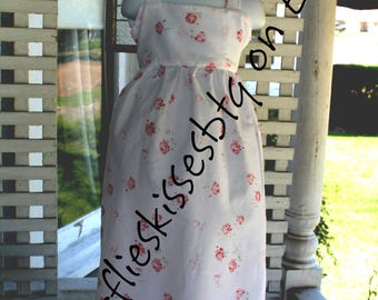 Handmade dress size 2-3T roses white maxi length dress pink shabby chic toddlers free shipping made in the USA Easter dress maxi length dres