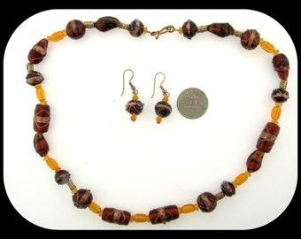 Vintage Heavy Czech Molded Root Beer Amber Art Glass Necklace & pierced Earrings